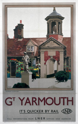 'Great Yarmouth - It's Quicker By Rail', LNER poster, 1923-1947.