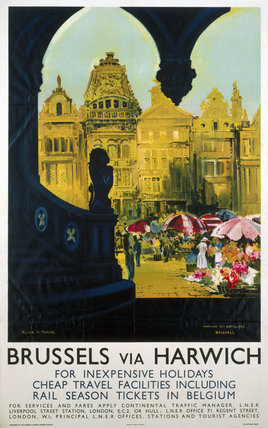 Brusels via Harwich, LNER poster, 1923-1947.
