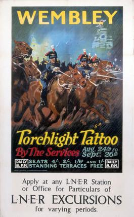 'Wembley - Torchlight Tattoo', LNER poster, c 1924.