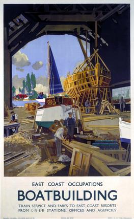 'Boatbuilding', LNER poster, 1947.