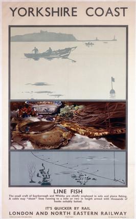 'Yorkshire Coast - Line Fish', LNER poster, 1923-1947.
