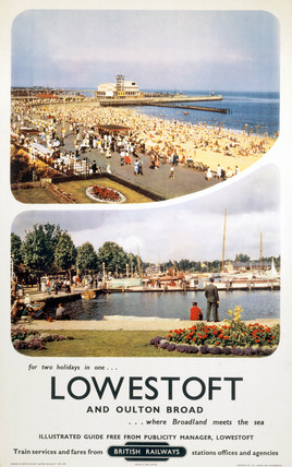 'Lowestoft and Oulton Broad', BR (ER) poster, 1959.