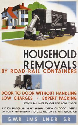 'Household Removals', GWR/LMS/LNER/SR poster, 1923-1947.