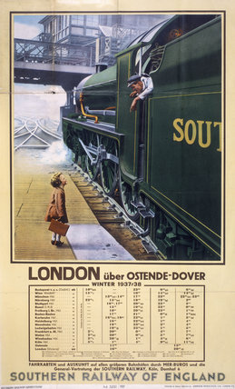 'London via Ostende/Dover', German SR poster, 1937.