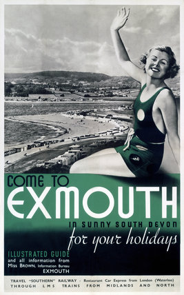 'Come to Exmouth', SR/LMS poster, 1923-1947.