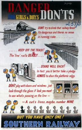 'Danger - Don'ts for Girls & Boys', SR poster, 1940-1949.