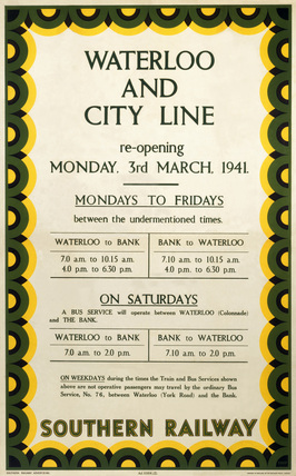Waterloo & City Line, SR poster, 1941.
