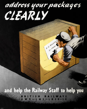 'Addres Your Packages Clearly', GWR/LMS/LNER/SR poster, 1940s.