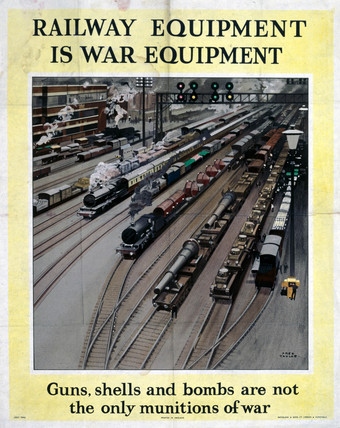 'Railway Equipment is War Equipment', World War II poster, 1943.