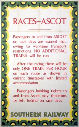 'Races - Ascot', SR poster, 1943.