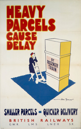 'Heavy Parcels Cause Delay', GWR/LMS/LNER/SR poster, 1940s.