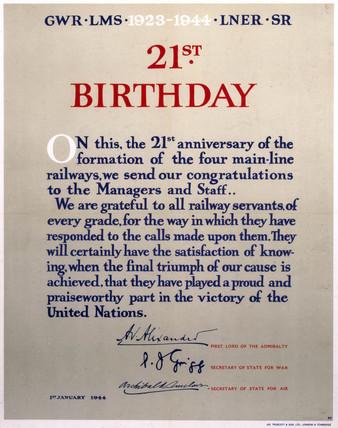 '21st Birthday - 1923-1944', GWR/LMS/LNER/SR poster, 1944.
