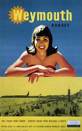 'Weymouth, Dorset', BR (SR) poster, 1959.