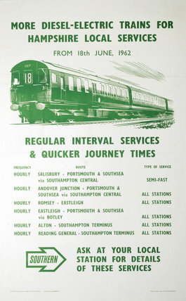 'More Diesel-Electric Trains for Hampshire', BR(SR) poster, 1962.