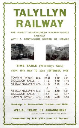 Talyllyn Railway poster, 1956.