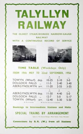 Talyllyn Railway timetable, 1956.