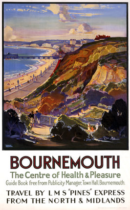 'Bournemouth, The Centre of Health & Pleasure', LMS poster, c 1930s.