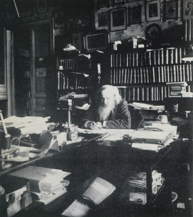 Dmitry Ivanovich Mendeleyev, Rusian chemist, in his office, 1903.