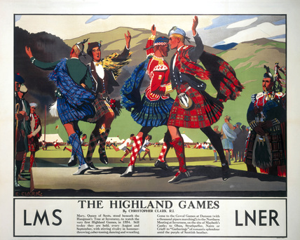 'The Highland Games', LMS and LNER poster, c 1930s.