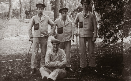 Wounded British soldiers in hospital grounds, c 1915-1918.