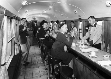 Drinking in a Great Western Railway buffet bar, September 1938.