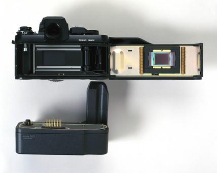 Kodak DCS fitted to Nikon F3 camera, 1990s.