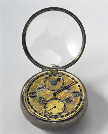 Balance spring pocket watch in silver case, 1675-1679.
