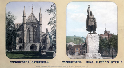 Winchester Cathedral and King Alfred's Statue, Winchester, Hampshire, 1910s.