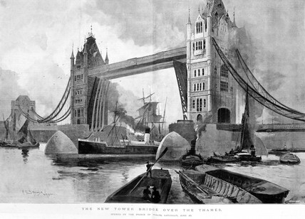 'The New Tower Bridge over the Thames', 1894.