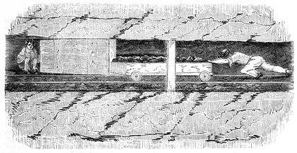 Drawer pushing a wooden sled in a mine, 1842.