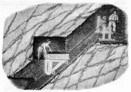 Two children operating a jigger in a mine, 1842.
