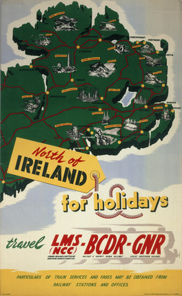 North of Ireland for Holidays', LMS (NCC), BCDR and GNR poster, 1950.