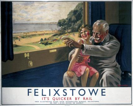 'Felixstowe, it's Quicker by Rail', LNER poster, 1934.