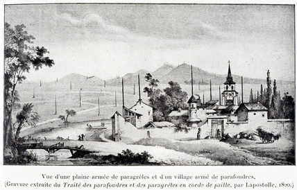 Village with anti-lightning protection rods, 1820.