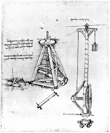 Winching mechanism, from Leonardo da Vinci's notebooks, c 1500.