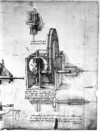 Gear mechanisms, from Leonardo da Vinci's notebooks, c 1500.