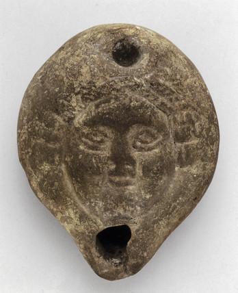 Pottery lamp, Romano-Egyptian, 1st century BC-1st century AD.