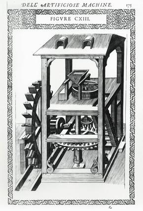 Corn mill driven by an undershot water wheel, 1588.
