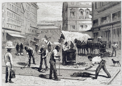 Council workers laying compresed asphalt, Paris, c 1881.