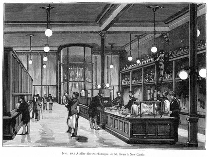 'Mr Swan's electrical workshop in Newcastle-Upon-Tyne', 1881.