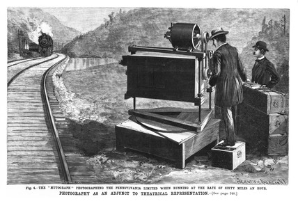 'The 'Mutograph' photographing an oncoming locomotive, 1897.