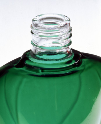 Green, heart-shaped bottle, powder-coated by Azko Nobel, 2000.