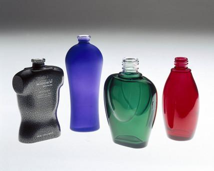 Four coloured bottles, powder-coated by Azko Nobel, 2000.