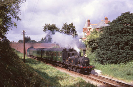 Terrier tank locomotive No 32678 with train, south of Havant station, c 1950s.