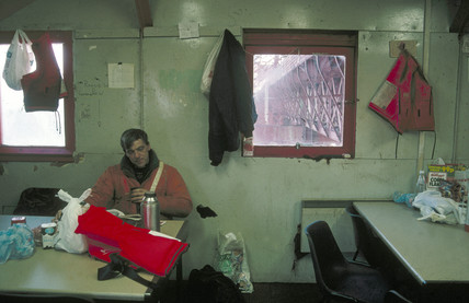 Tea break in 'the bothy' for worker on the Forth Bridge, Scotland, January 1997.