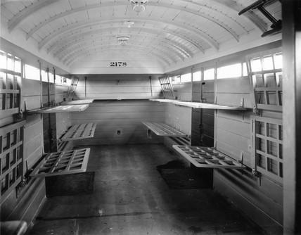 Interior of a pigeon van, c 1920s.