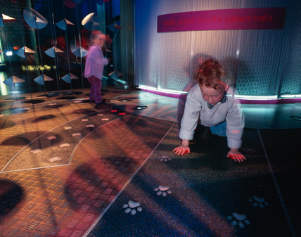 The footprint game in the Pattern Pod, Science Museum, London 2000.