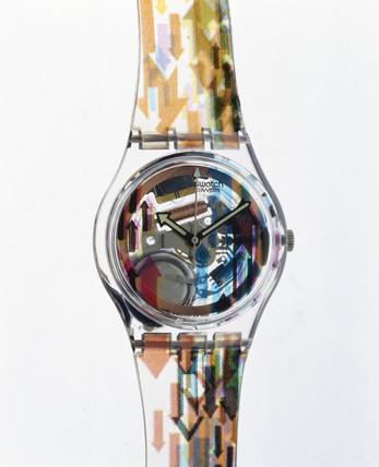Swatch 'Acces' quartz wristwatch with analogue display, 1997.