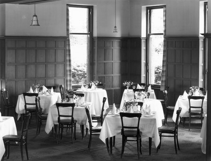 Dining room of the Highland Hotel in Strathpeffer, Scottish Highlands, 19 August 1936.