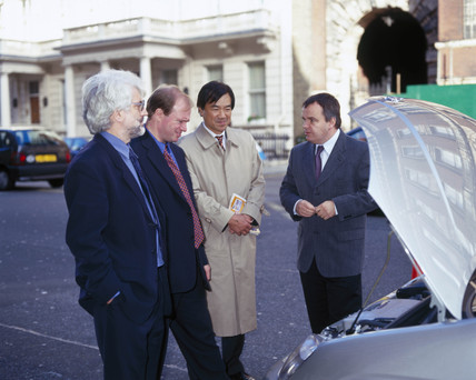 Test driving the Toyota Prius, Science Museum, London, 2000.